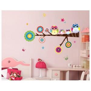 Samolepka na stenu - Farebné sovičky