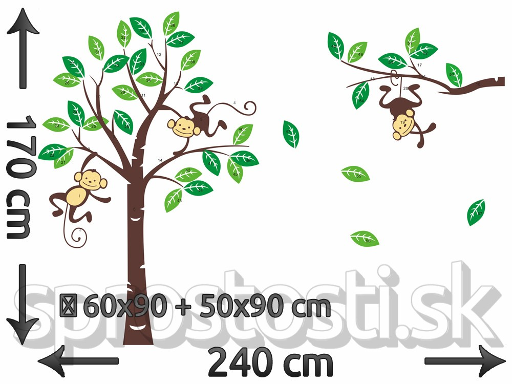 Samolepka na stenu - Zavesené opičky