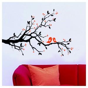 Samolepka na stenu - Vrabce na konári