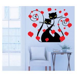 Samolepka na stenu - Zamilované mačky