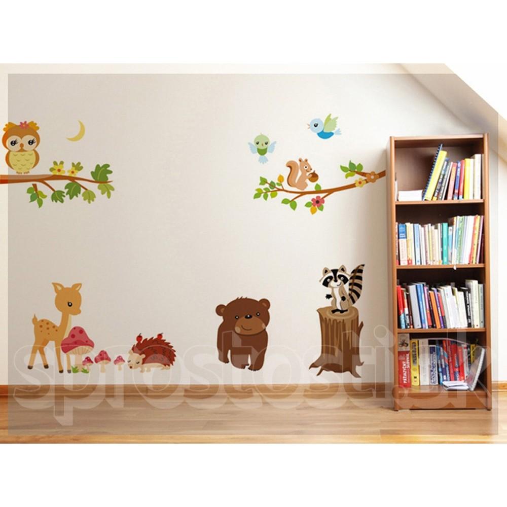 Samolepka na stenu medved k istotn for Wandtattoo kinderzimmer waldtiere
