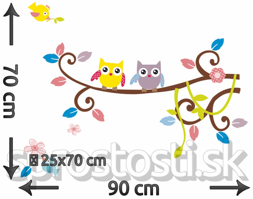 Samolepka na stenu - Dve sovy
