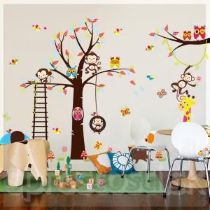 Samolepka na stenu - Sovy a opice
