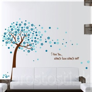 Samolepka na stenu - Rozfúkaný strom modrý