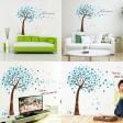 Samolepka na stenu - Rozfúkané strom modrý