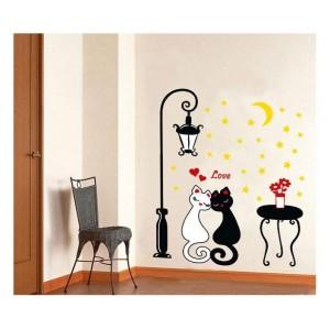 Samolepka na stenu - Buchnuté mačence
