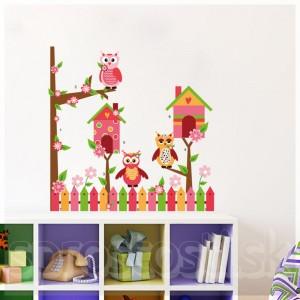 Samolepka na stenu - Sovie domčeky