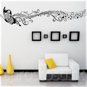 Samolepka na stenu - Lietajúce noty