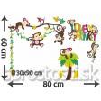 Samolepka na stenu - Veselé opičky
