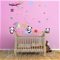 Samolepka na stenu - Tri pandy