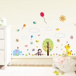 Samolepka na stenu - Veselé zvieratká