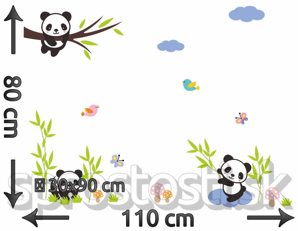 Samolepka na stenu - Veselé pandy
