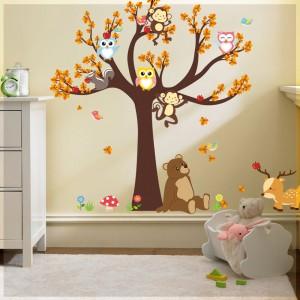 Samolepka na stenu - Sediaci medvedík