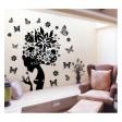Samolepka na stenu - Kvetinová hlava s motýľmi