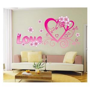 Samolepka na stenu - Ružové srdce