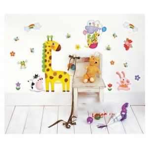 Samolepka na stenu - Žirafa s kolegami