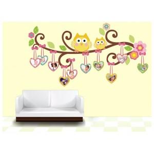 Samolepka na stenu - Srdiečkové sovičky