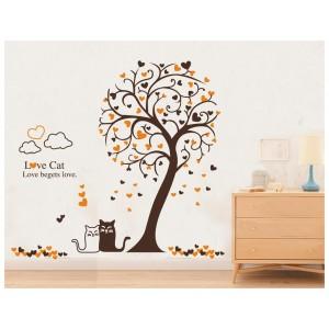 Samolepka na stenu - Mačky pod hnedým stromom